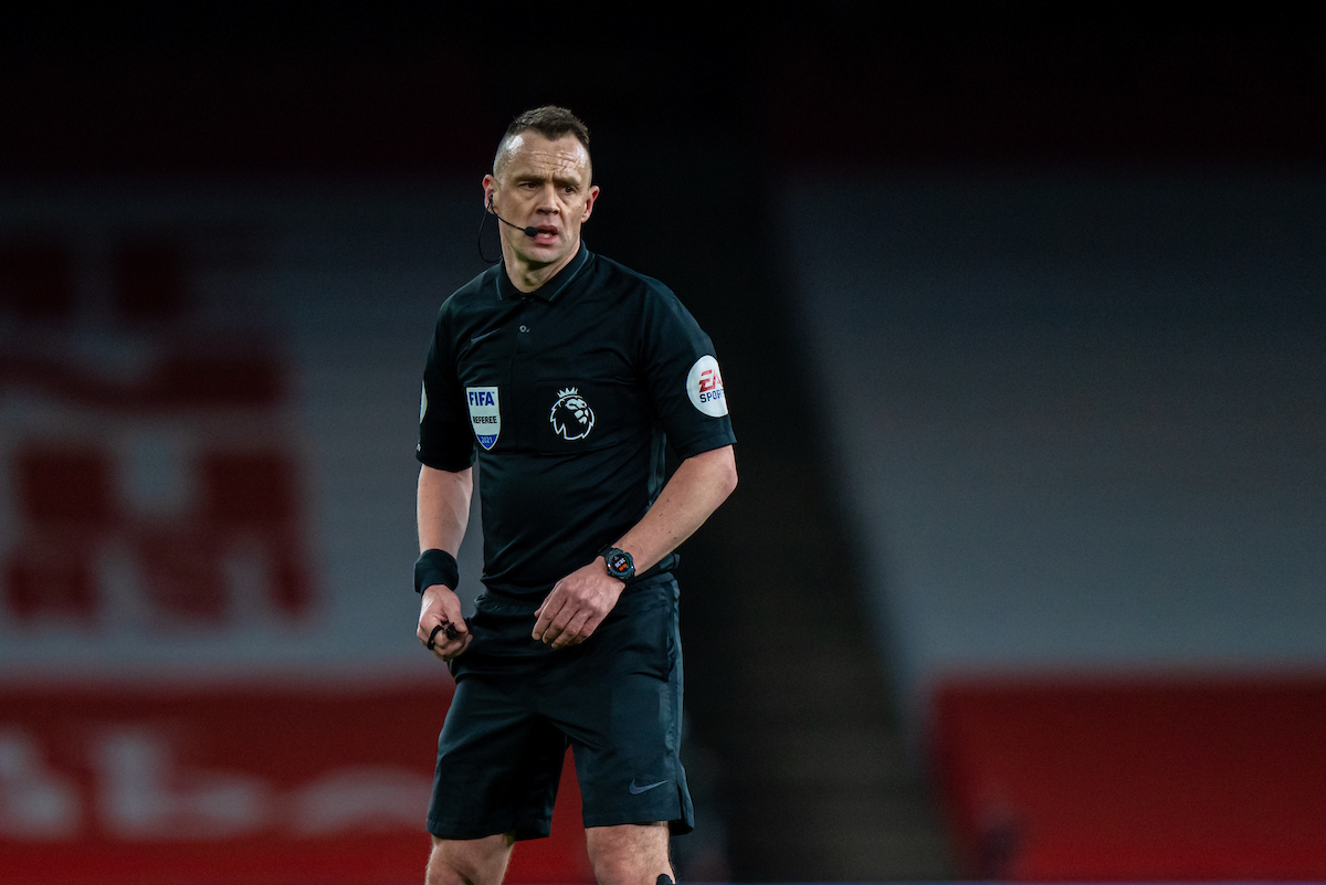Saturday, April 3, 2021: Referee Stuart Atwell during the FA Premier League match between Arsenal FC and Liverpool FC at the Emirates Stadium. Liverpool won 3-0.