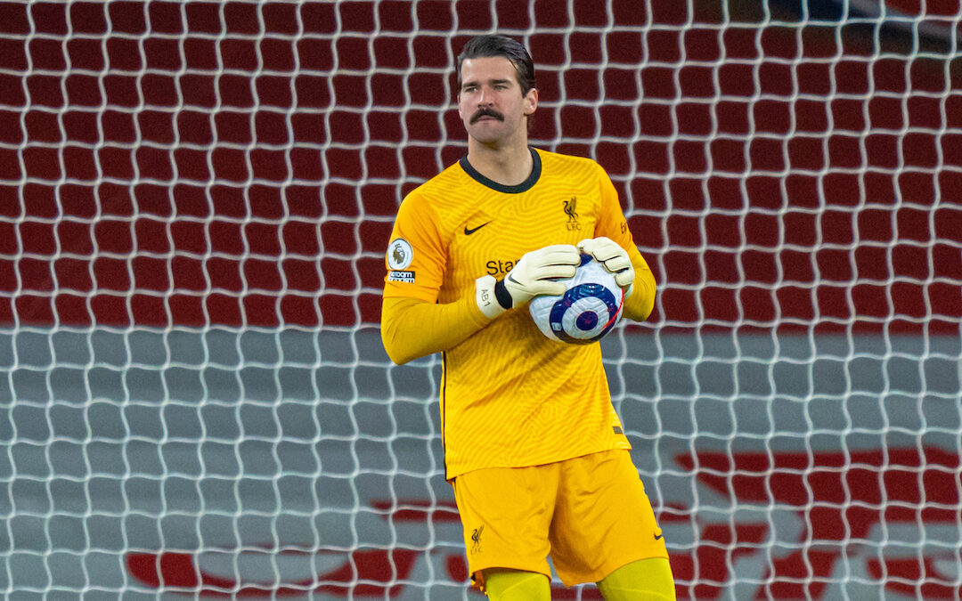 Saturday, April 3, 2021: Liverpool's goalkeeper Alisson Becker during the FA Premier League match between Arsenal FC and Liverpool FC at the Emirates Stadium. Liverpool won 3-0.