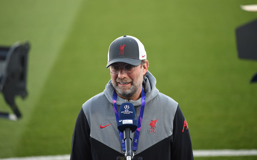 MADRID, SPAIN - Tuesday, April 6, 2021: Liverpool's manager Jürgen Klopp gives an interview before the UEFA Champions League Quarter-Final 1st Leg game between Real Madird CF and Liverpool FC at the Estadio Alfredo Di Stefano. Real Madrid won 3-1.
