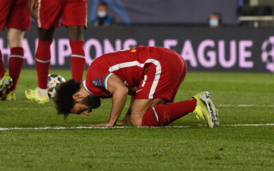 MADRID, SPAIN - Tuesday, April 6, 2021: Liverpool's Mohamed Salah celebrates after his side's only goal during the UEFA Champions League Quarter-Final 1st Leg game between Real Madrid CF and Liverpool FC at the Estadio Alfredo Di Stefano.