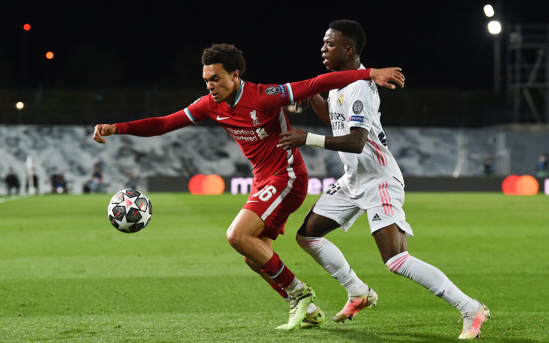 MADRID, SPAIN - Tuesday, April 6, 2021: Liverpool's Trent Alexander-Arnold during the UEFA Champions League Quarter-Final 1st Leg game between Real Madrid CF and Liverpool FC at the Estadio Alfredo Di Stefano.