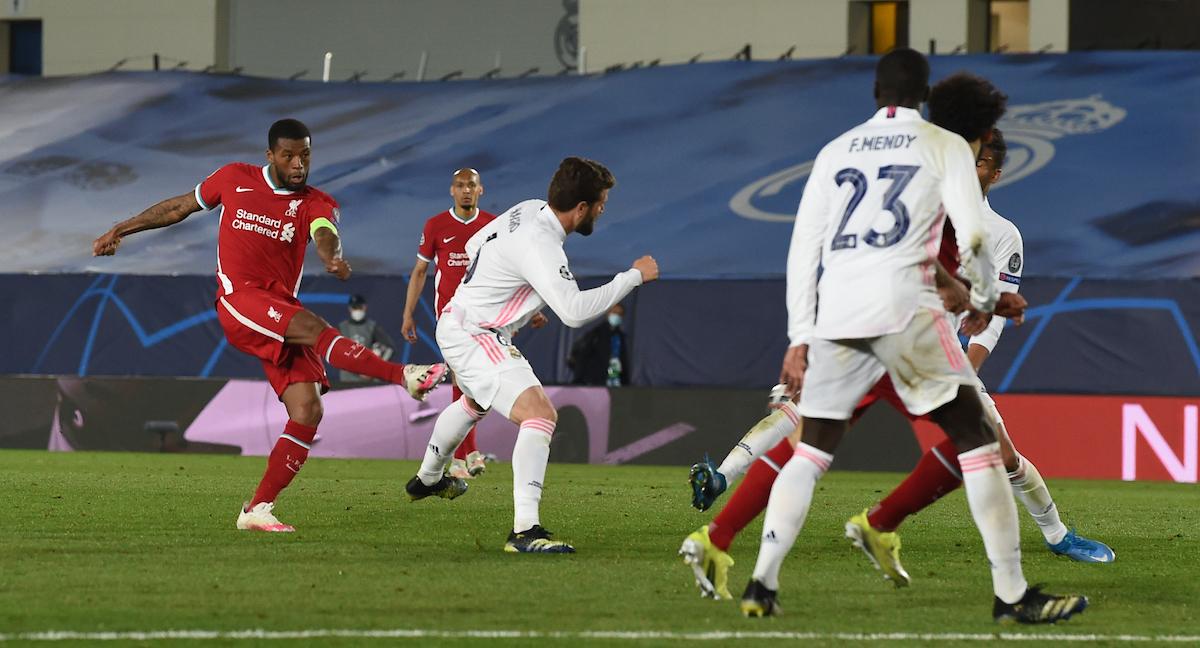 MADRID, SPAIN - Tuesday, April 6, 2021: Liverpool's Georginio Wijnaldum during the UEFA Champions League Quarter-Final 1st Leg game between Real Madrid CF and Liverpool FC at the Estadio Alfredo Di Stefano.