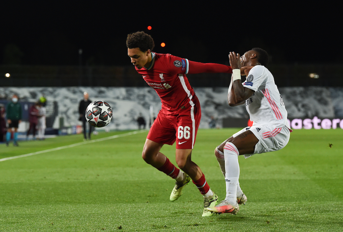 Tuesday, April 6, 2021: Liverpool's Trent Alexander-Arnold during the UEFA Champions League Quarter-Final 1st Leg game between Real Madird CF and Liverpool FC at the Estadio Alfredo Di Stefano. Real Madrid won 3-1.
