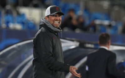 MADRID, SPAIN - Tuesday, April 6, 2021: Liverpool's manager Jürgen Klopp during the UEFA Champions League Quarter-Final 1st Leg game between Real Madrid CF and Liverpool FC at the Estadio Alfredo Di Stefano.