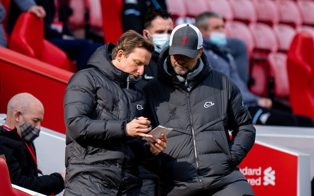 Saturday, April 10, 2021: Liverpool's first-team development coach Pepijn Lijnders (L) and manager Jürgen Klopp during the FA Premier League match between Liverpool FC and Aston Villa FC at Anfield. Liverpool won 2-1.