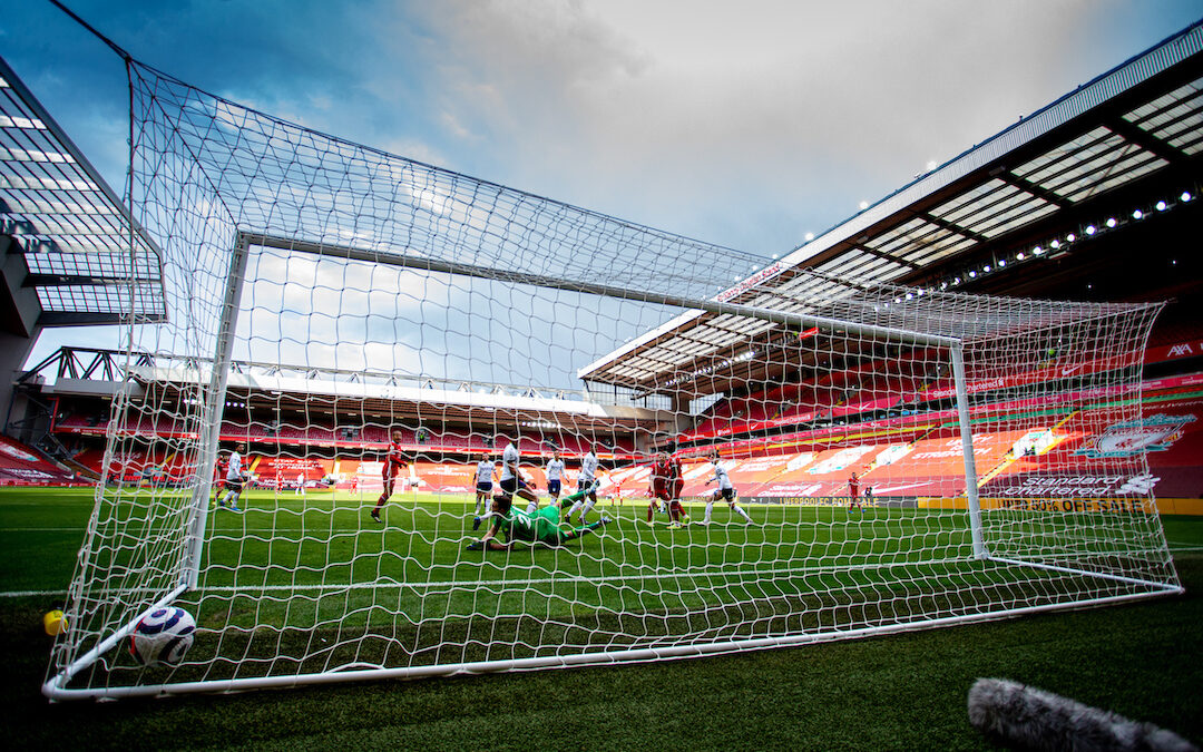 Saturday, April 10, 2021: Aston Villa's goalkeeper Emiliano Martínez is beaten as Liverpool's Trent Alexander-Arnold scores the winning goal during the FA Premier League match between Liverpool FC and Aston Villa FC at Anfield. Liverpool won 2-1.