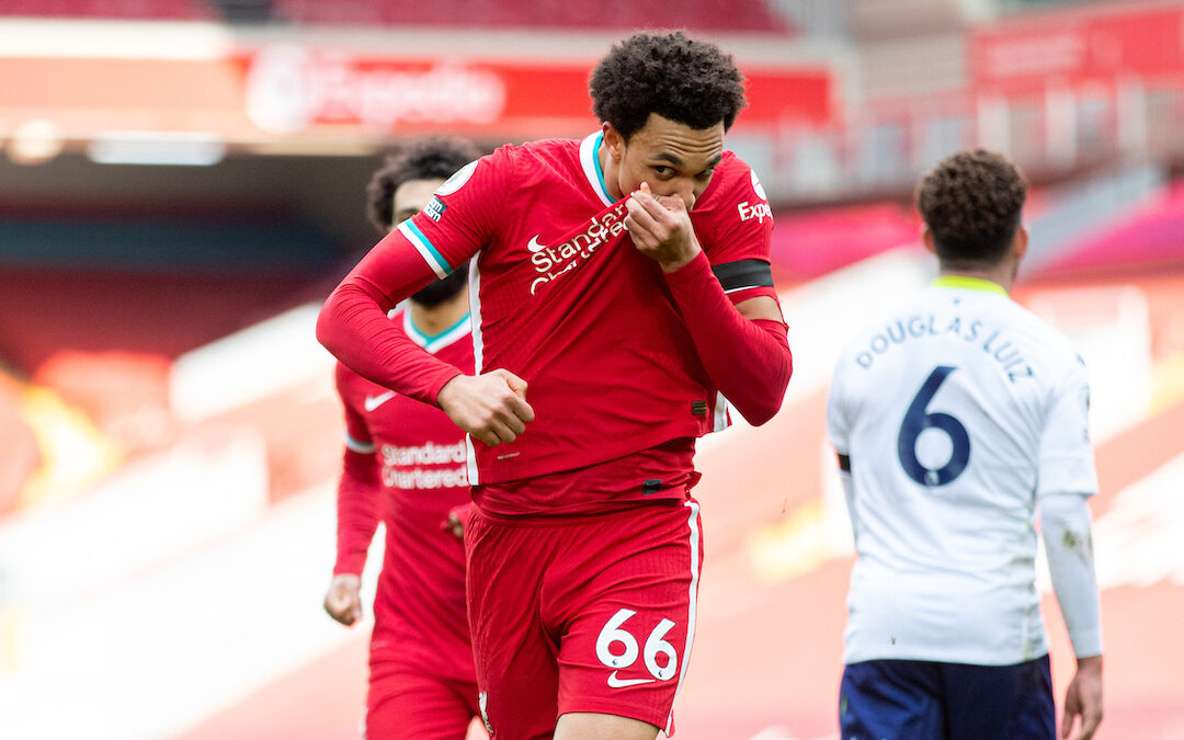 Saturday, April 10, 2021: Liverpool's Trent Alexander-Arnold kisses the badge on his shirt as he celebrates after scoring the winning second goal during the FA Premier League match between Liverpool FC and Aston Villa FC at Anfield. Liverpool won 2-1.