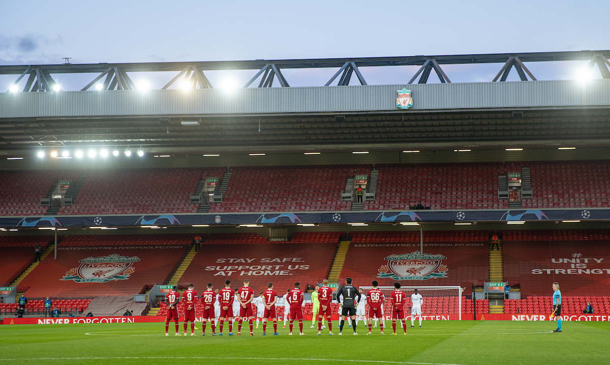 Wednesday, April 14, 2021: Liverpool and Real Madrid players stand for a moment's silence to remember the 96 victims of the Hillsborough Stadium Disaster on the eve of the 32th anniversary, before the UEFA Champions League Quarter-Final 2nd Leg game between Liverpool FC and Real Madird CF at Anfield. The game ended in a goal-less draw, Real Madrid won 3-1 on aggregate.