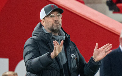 Wednesday, April 14, 2021: Liverpool's manager Jürgen Klopp during the UEFA Champions League Quarter-Final 2nd Leg game between Liverpool FC and Real Madird CF at Anfield. The game ended in a goal-less draw, Real Madrid won 3-1 on aggregate.