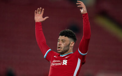 Wednesday, April 14, 2021: Liverpool's Alex Oxlade-Chamberlain looks dejected after the UEFA Champions League Quarter-Final 2nd Leg game between Liverpool FC and Real Madrid CF at Anfield. The game ended in a goal-less draw, Real Madrid won 3-1 on aggregate.
