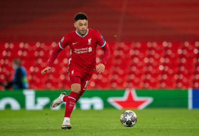 Wednesday, April 14, 2021: Liverpool's Alex Oxlade-Chamberlain during the UEFA Champions League Quarter-Final 2nd Leg game between Liverpool FC and Real Madrid CF at Anfield. The game ended in a goal-less draw, Real Madrid won 3-1 on aggregate.