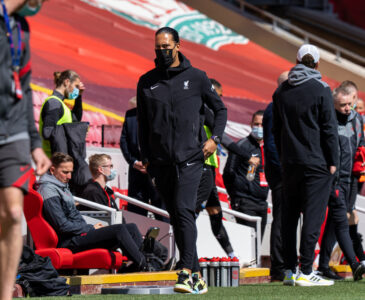 Liverpool's injured Virgil van Dijk during the FA Premier League match between Liverpool FC and Newcastle United FC at Anfield.
