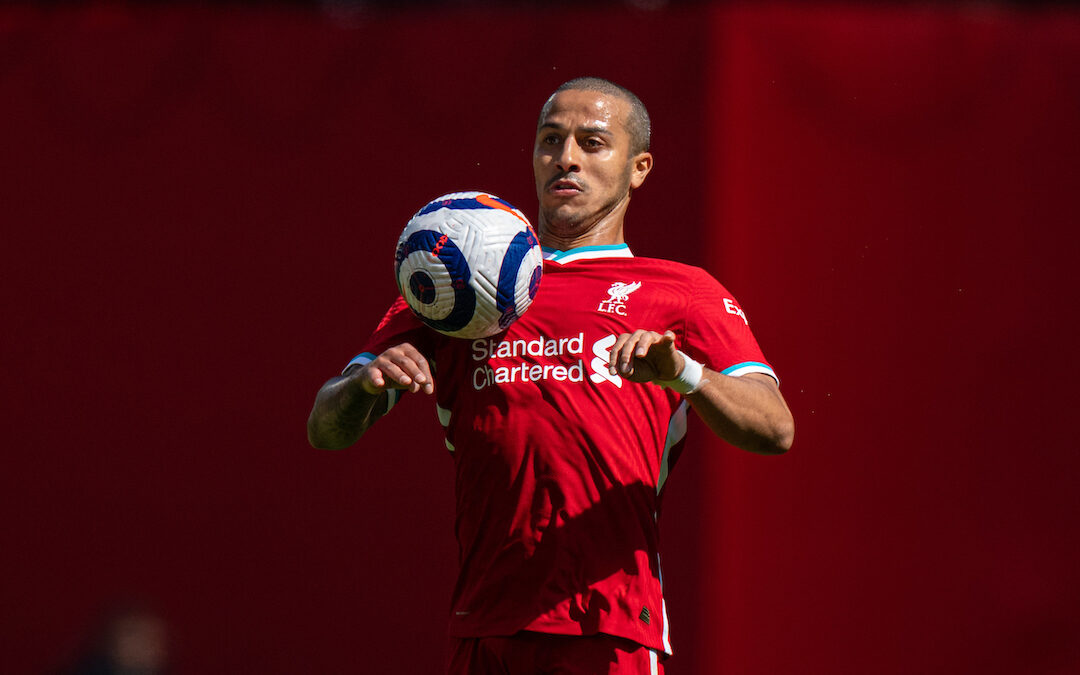 Liverpool's Thiago Alcantara during the FA Premier League match between Liverpool FC and Newcastle United FC at Anfield.