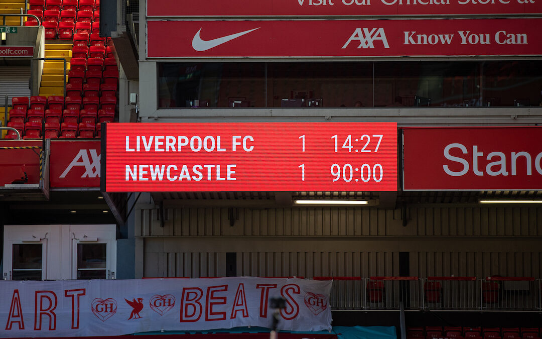 The scoreboard records the 1-1 draw during the FA Premier League match between Liverpool FC and Newcastle United FC at Anfield.