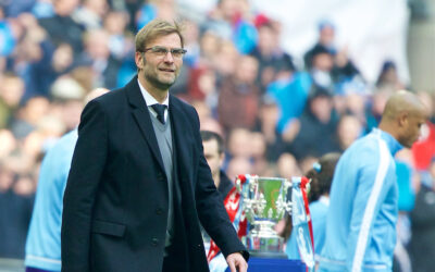Liverpool's manager Jürgen Klopp walks out before the Football League Cup Final match against Manchester City at Wembley Stadium.