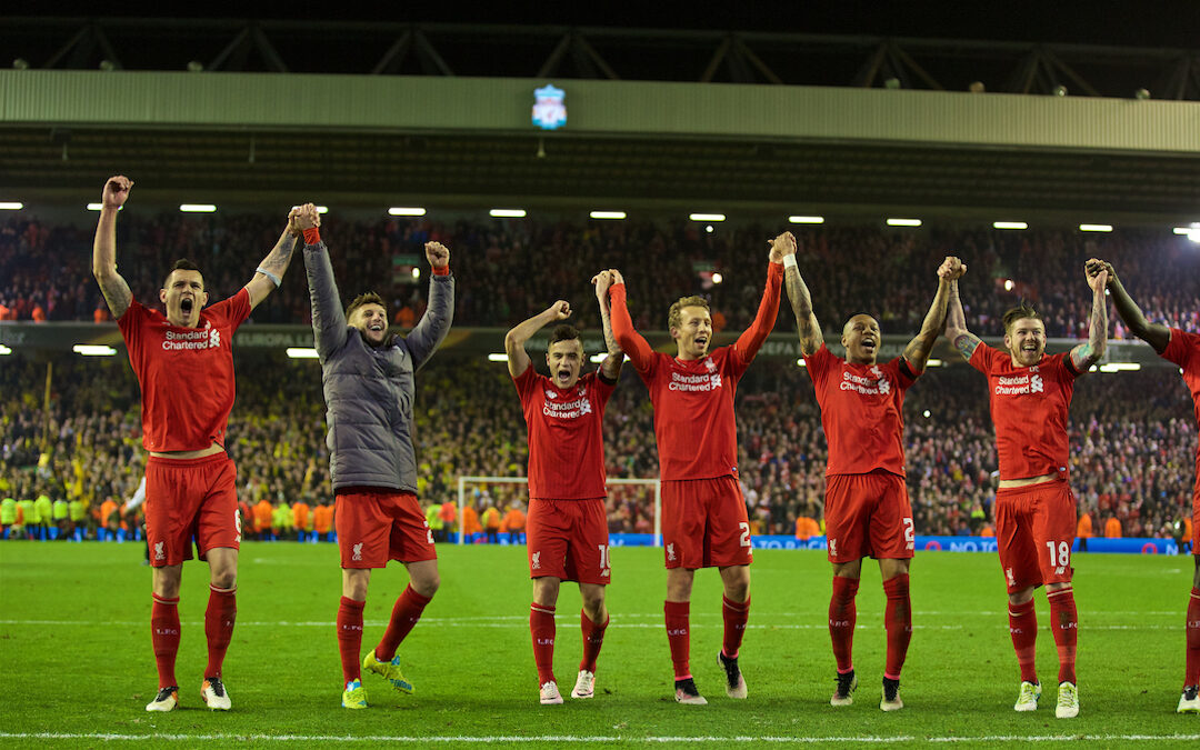 Thursday, April 14, 2016: Liverpool players celebrate the incredible 4-3 (5-4 aggregate) victory over Borussia Dortmund during the UEFA Europa League Quarter-Final 2nd Leg match at Anfield. Dejan Lovren, Adam Lallana, Philippe Coutinho Correia, Lucas Leiva, Nathaniel Clyne, Alberto Moreno.