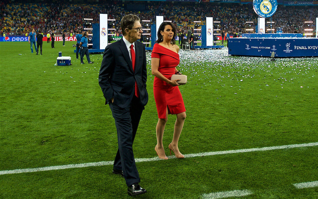 KIEV, UKRAINE - Saturday, May 26, 2018: European Super League advocate and Liverpool owner John W. Henry and wife Linda Pizzuti after the UEFA Champions League Final match between Real Madrid CF and Liverpool FC at the NSC Olimpiyskiy.