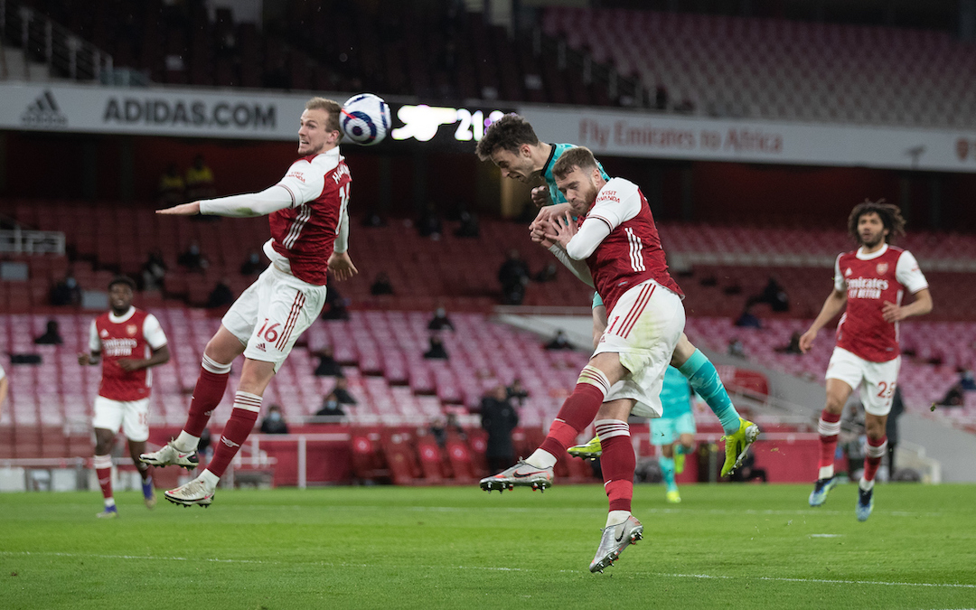 Liverpool's Diogo Jota scores the first goal with a header during the FA Premier League match between Arsenal FC and Liverpool FC at the Emirates Stadium