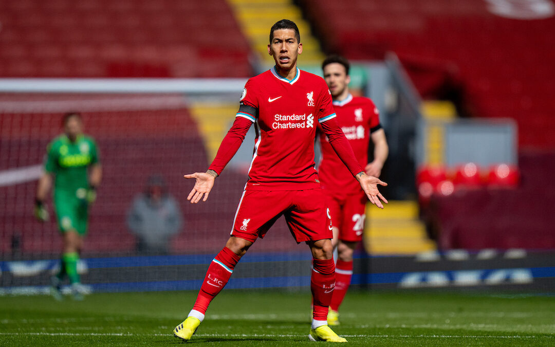 Saturday, April 10, 2021: Liverpool's Roberto Firmino during the FA Premier League match between Liverpool FC and Aston Villa FC at Anfield.