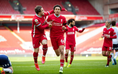 Saturday, April 10, 2021: Liverpool's Trent Alexander-Arnold (R) celebrates with team-mate Xherdan Shaqiri after scoring the second goal during the FA Premier League match between Liverpool FC and Aston Villa FC at Anfield.