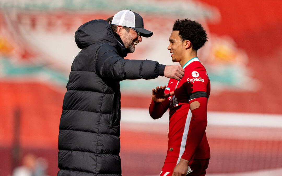 Saturday, April 10, 2021: Liverpool's manager Jürgen Klopp (L) with match-winning goal-scorer Trent Alexander-Arnold after the FA Premier League match between Liverpool FC and Aston Villa FC at Anfield.
