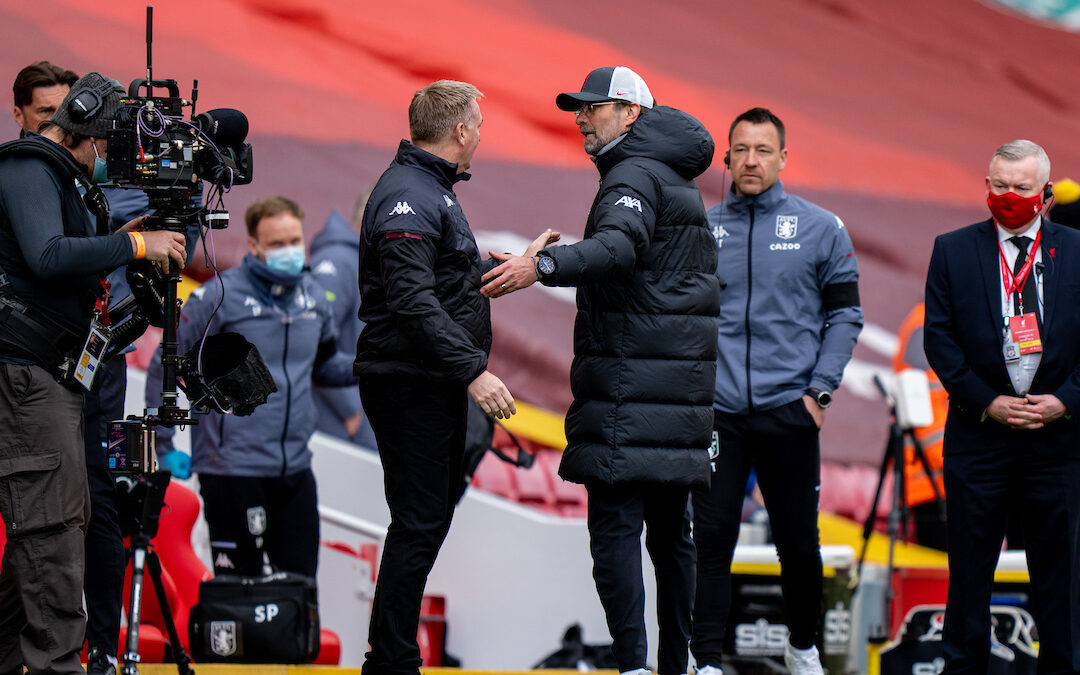Saturday, April 10, 2021: Liverpool's manager Jürgen Klopp (R) and Aston Villa's manager Dean Smith after the FA Premier League match between Liverpool FC and Aston Villa FC at Anfield.