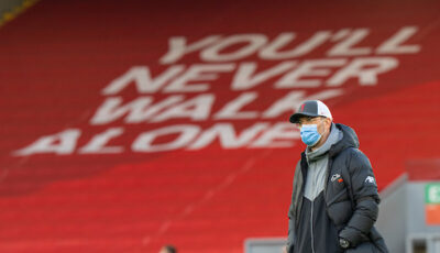 """Wednesday, April 14, 2021: """"You'll Never Walk Alone"""" Liverpool's manager Jürgen Klopp during the pre-match warm-up before the UEFA Champions League Quarter-Final 2nd Leg game between Liverpool FC and Real Madird CF at Anfield."""