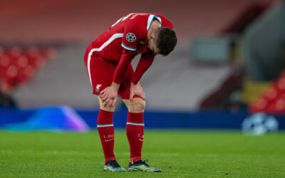 Wednesday, April 14, 2021: Liverpool's Andy Robertson looks dejected after the UEFA Champions League Quarter-Final 2nd Leg game between Liverpool FC and Real Madrid CF at Anfield. The game ended in a goal-less draw, Real Madrid won 3-1 on aggregate.