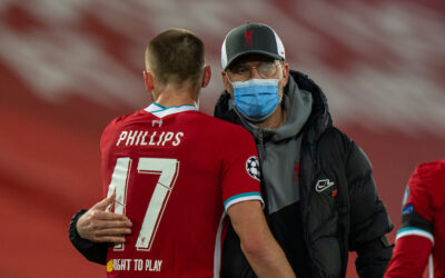Wednesday, April 14, 2021: Liverpool's manager Jürgen Klopp with Nathaniel Phillips after the UEFA Champions League Quarter-Final 2nd Leg game between Liverpool FC and Real Madird CF at Anfield. The game ended in a goal-less draw, Real Madrid won 3-1 on aggregate.