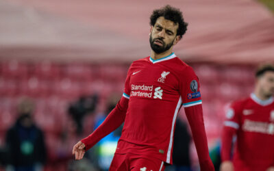 Wednesday, April 14, 2021: Liverpool's Mohamed Salah looks dejected after the UEFA Champions League Quarter-Final 2nd Leg game between Liverpool FC and Real Madird CF at Anfield. The game ended in a goal-less draw, Real Madrid won 3-1 on aggregate.