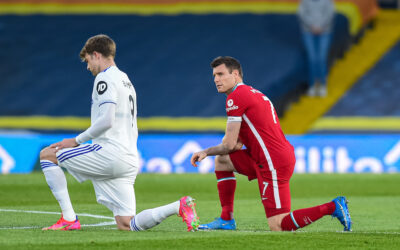 Monday, April 19, 2021: Liverpool's James Milner and Leeds United's Patrick Bamford kneels down (takes a knee) in support of the Black Lives Matter movement before the FA Premier League match between Leeds United FC and Liverpool FC at Elland Road.