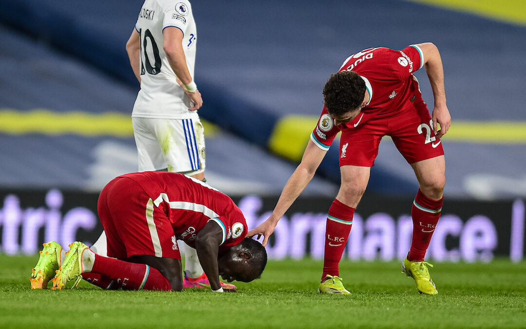 Monday, April 19, 2021: Liverpool's Sadio Mané kneels to pray as he celebrates after scoring the first goal during the FA Premier League match between Leeds United FC and Liverpool FC at Elland Road.
