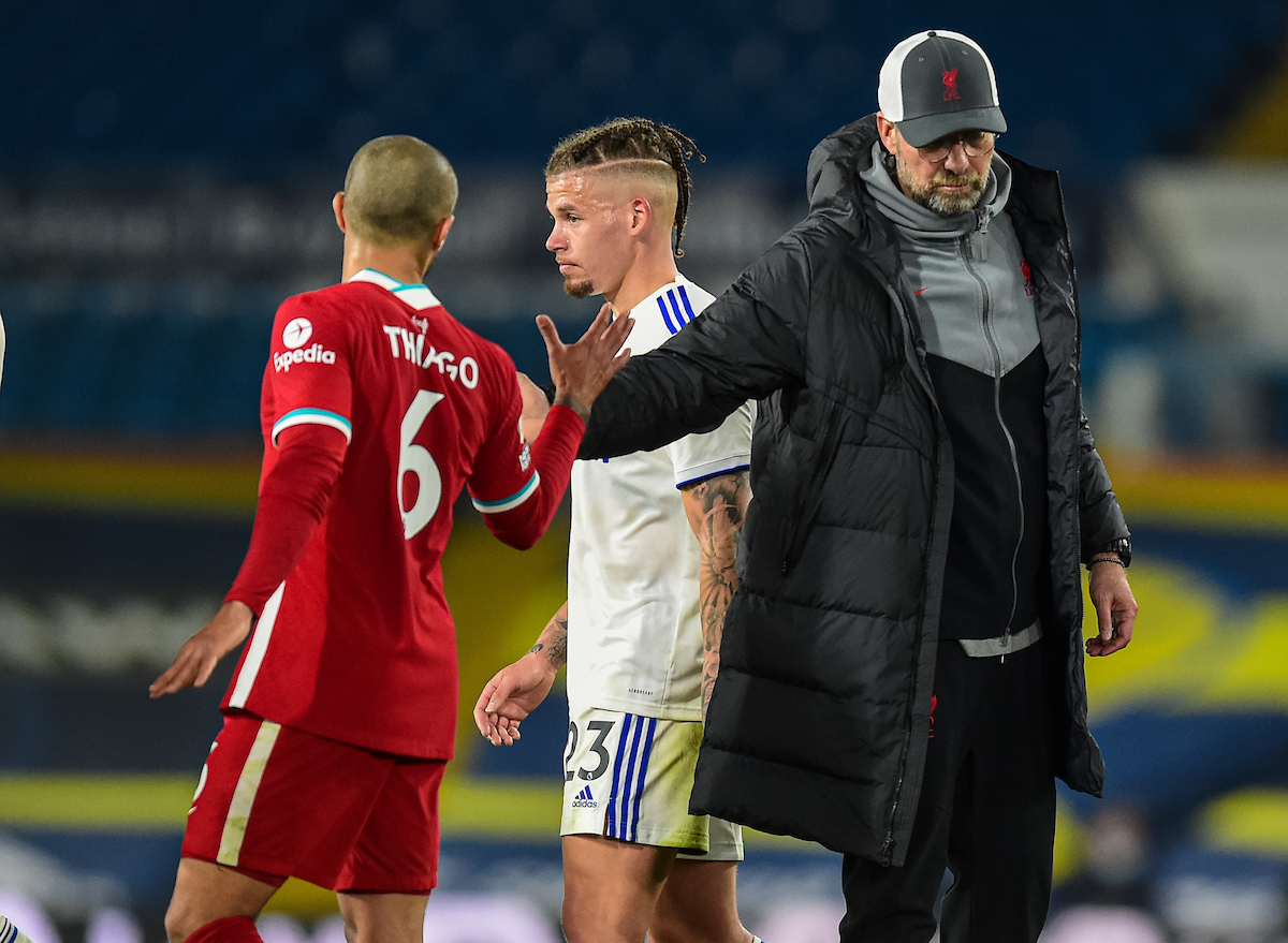 Monday, April 19, 2021: Liverpool's manager Jürgen Klopp (R) with Thiago Alcantara after the FA Premier League match between Leeds United FC and Liverpool FC at Elland Road. The game ended in a 1-1 draw.