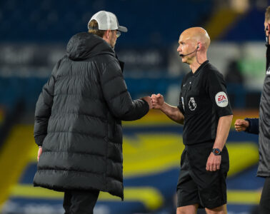 Monday, April 19, 2021: Liverpool's manager Jürgen Klopp (L) fist bumps referee Anthony Taylor after the FA Premier League match between Leeds United FC and Liverpool FC at Elland Road. The game ended in a 1-1 draw.