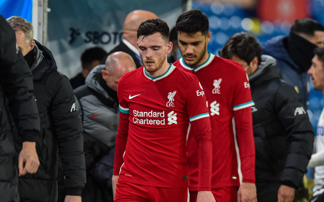 Monday, April 19, 2021: Liverpool's Andy Robertson (L) and Ozan Kabak after the FA Premier League match between Leeds United FC and Liverpool FC at Elland Road. The game ended in a 1-1 draw.