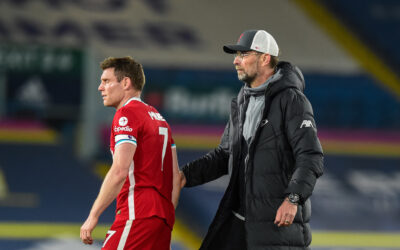 Monday, April 19, 2021: Liverpool's James Milner (L) and manager Jürgen Klopp after the FA Premier League match between Leeds United FC and Liverpool FC at Elland Road. The game ended in a 1-1 draw.