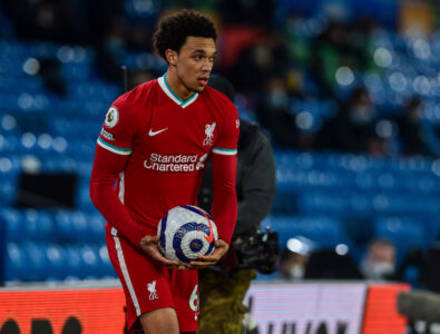 Monday, April 19, 2021: Liverpool's Trent Alexander-Arnold prepares to take a throw-in during the FA Premier League match between Leeds United FC and Liverpool FC at Elland Road.