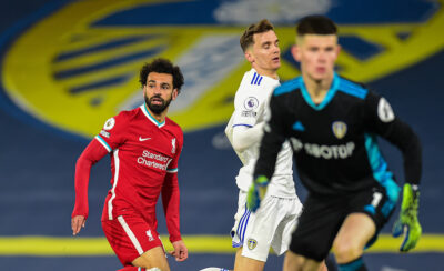 LEEDS, ENGLAND - Monday, April 19, 2021: Liverpool's substitute Mohamed Salah looks dejected after missing a chance during the FA Premier League match between Leeds United FC and Liverpool FC at Elland Road.