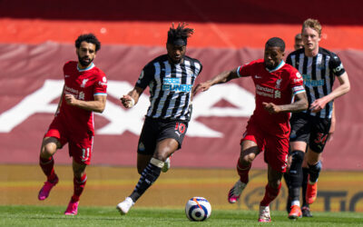 Newcastle United's Allan Saint-Maximin (C) during the FA Premier League match between Liverpool FC and Newcastle United FC at Anfield.