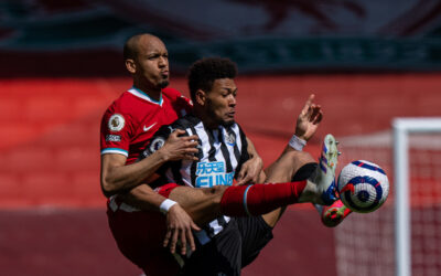 Liverpool's Fabio Henrique Tavares 'Fabinho' (L) challenges Joelinton Cássio Apolinário de Lira during the FA Premier League match between Liverpool FC and Newcastle United FC at Anfield.