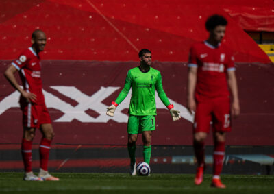 Liverpool's goalkeeper Alisson Becker looks dejected after his side concede a 95th minute equalising goal during the FA Premier League match between Liverpool FC and Newcastle United FC at Anfield.