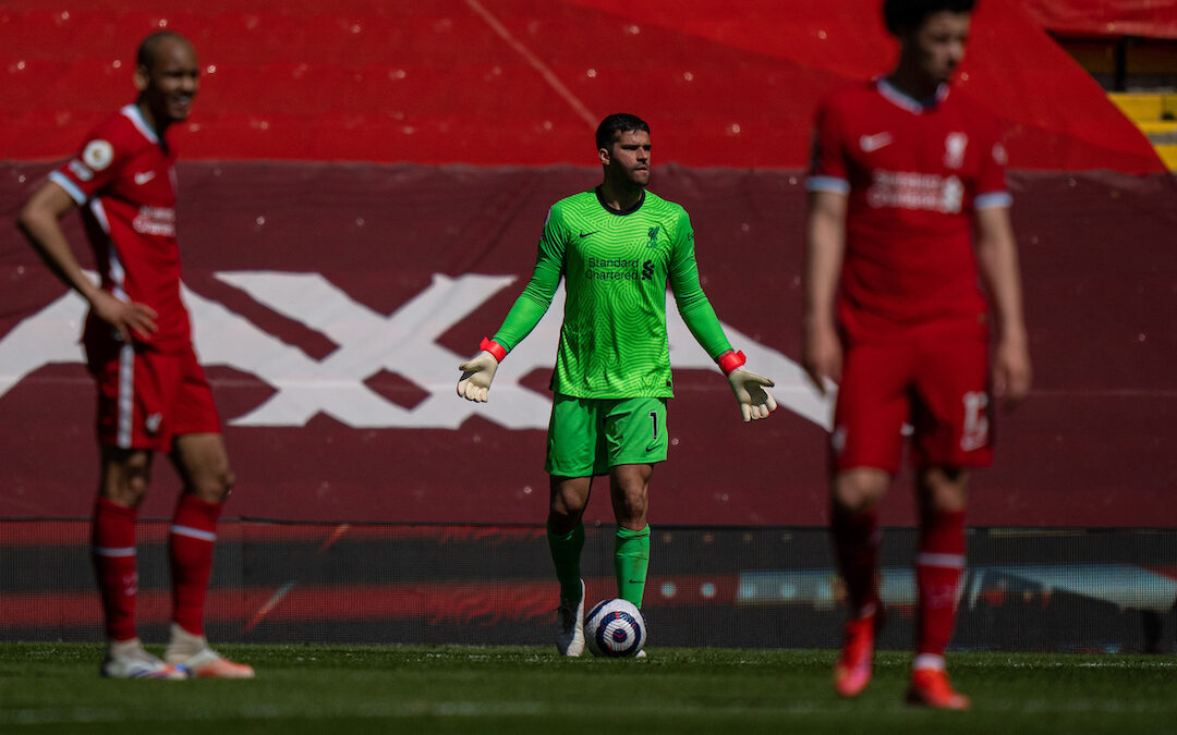 Saturday, April 24, 2021: Liverpool's goalkeeper Alisson Becker looks dejected after his side concede a 95th minute equalising goal during the FA Premier League match between Liverpool FC and Newcastle United FC at Anfield.