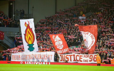 Liverpool supporters banner 'Justice for the 96' for those who died at Hillsborough.