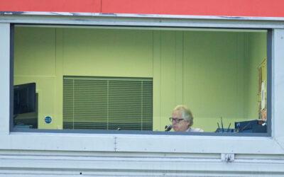 George Sephton, Liverpool FC stadium announcer, at Anfield.