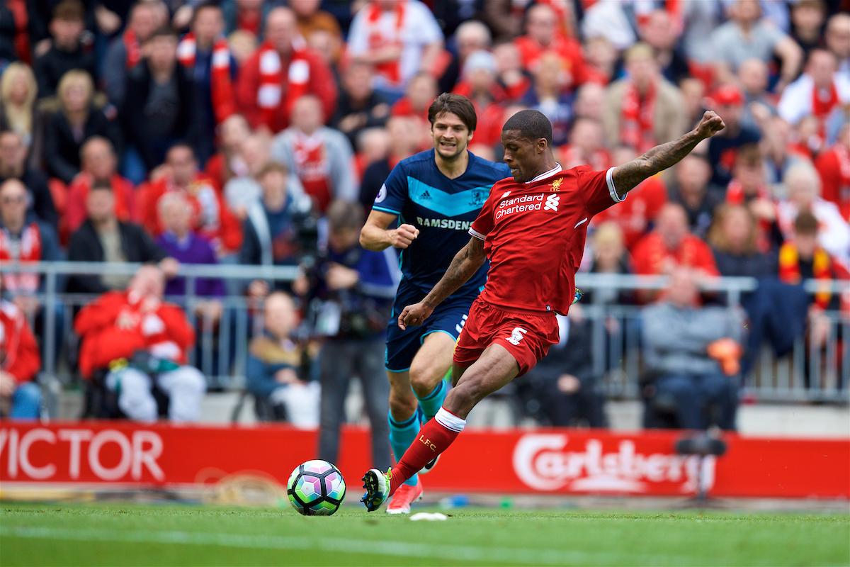 Liverpool's Gini Wijnaldum scores the first goal against Middlesbrough during the FA Premier League match at Anfield.