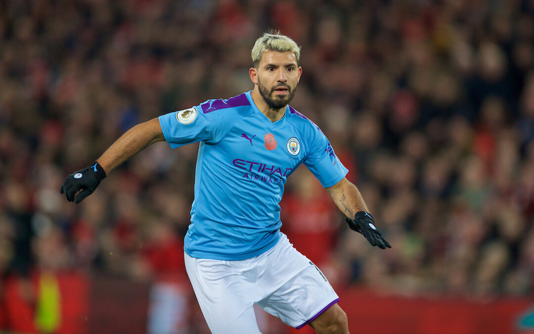 Manchester City's Sergio Aguero during the FA Premier League match between Liverpool FC and Manchester City FC at Anfield.