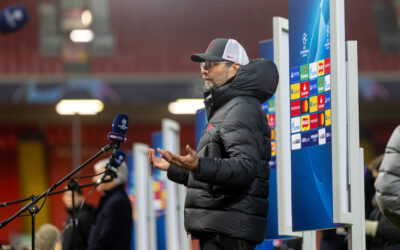 Liverpool's manager Jürgen Klopp gives a television interview after the UEFA Champions League Group D match between Liverpool FC and Atalanta BC at Anfield.