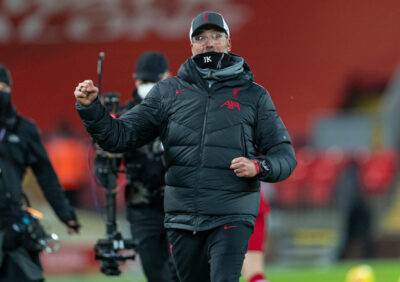 Liverpool manager Jurgen Klopp celebrates in front of the supporters at Anfield.
