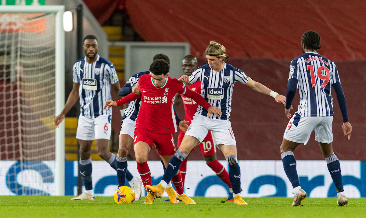 Liverpool's Curtis Jones during the FA Premier League match between Liverpool FC and West Brom at Anfield.