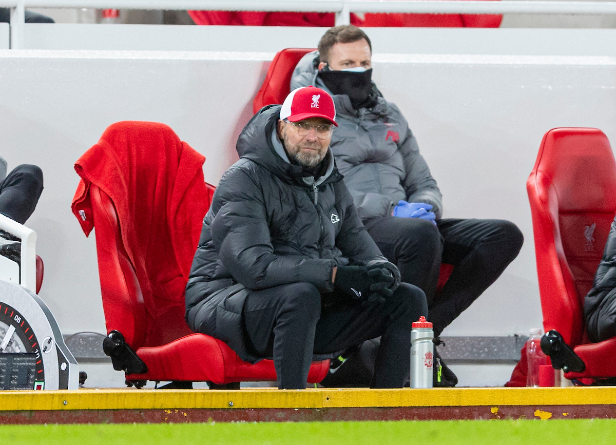 Liverpool's manager Jürgen Klopp during the FA Premier League match between Liverpool FC and Burnley FC at Anfield.